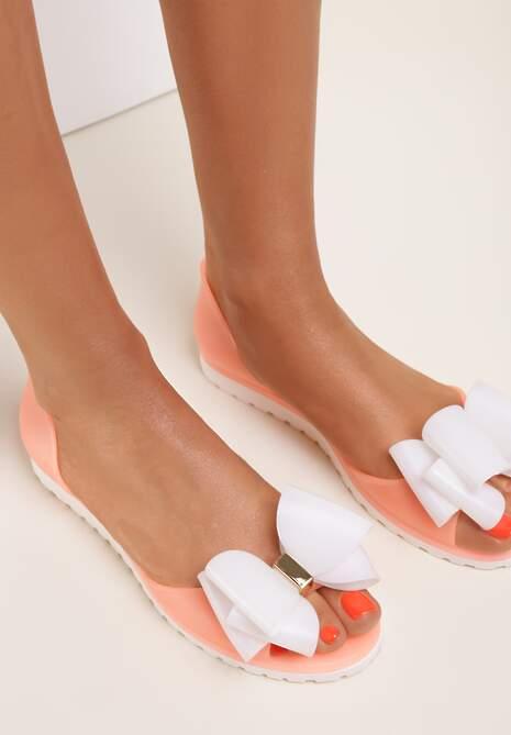 Pomarańczowo-Białe Balerinki Ashann
