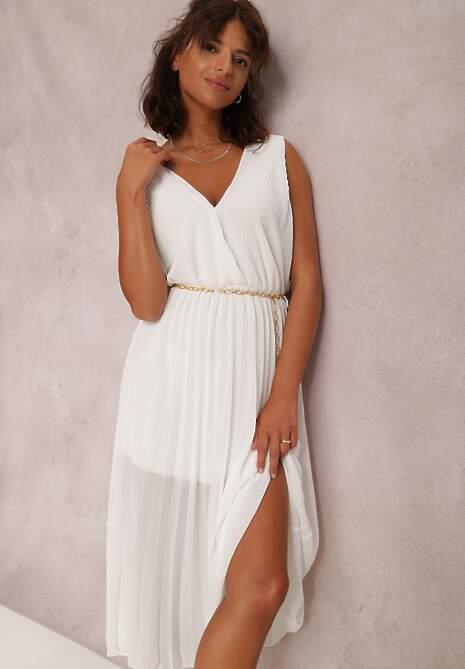 Biała Sukienka Z Paskiem Phaisisia