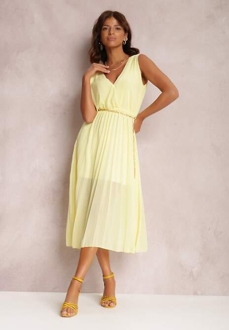 Żółta Sukienka Z Paskiem Phaisisia
