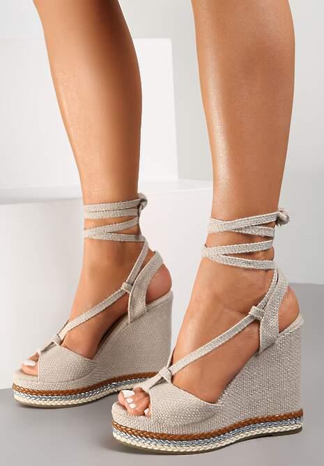 Beżowe Sandały Meda