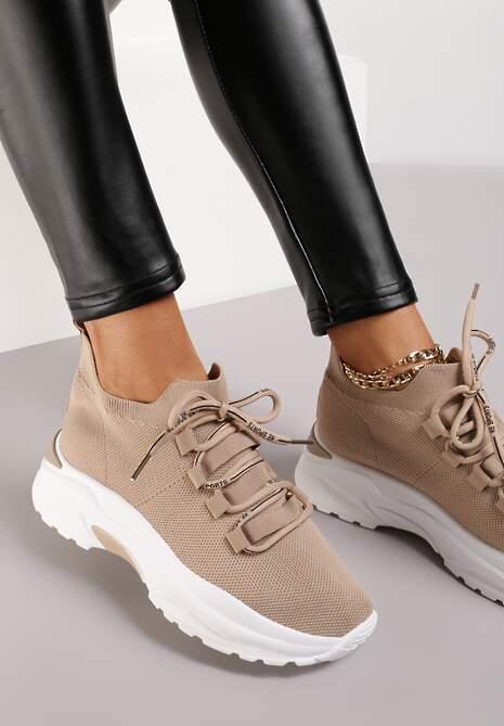 Ciemnobeżowe Sneakersy Raeggo