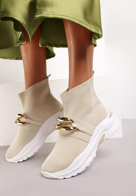 Beżowe Sneakersy Bostyl