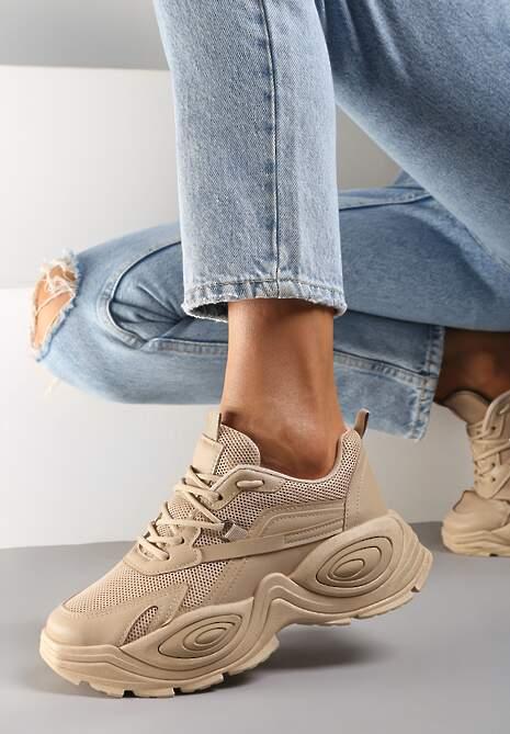 Ciemnobeżowe Sneakersy Hevo