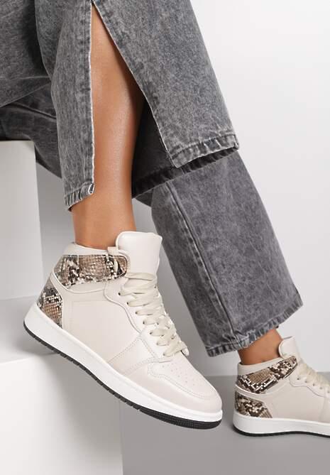 Beżowe Wężowe Sneakersy Ciryse