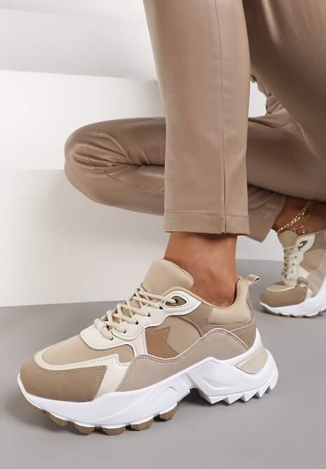 Ciemnobeżowe Sneakersy Zirlo