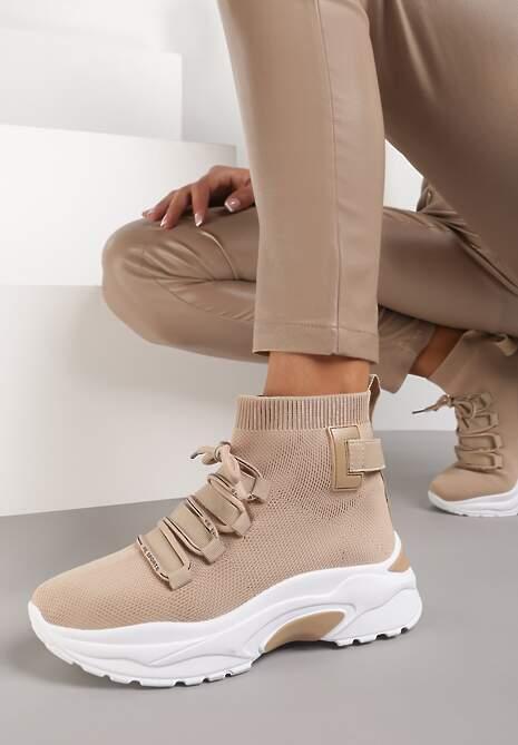 Ciemnobeżowe Sneakersy Eloela