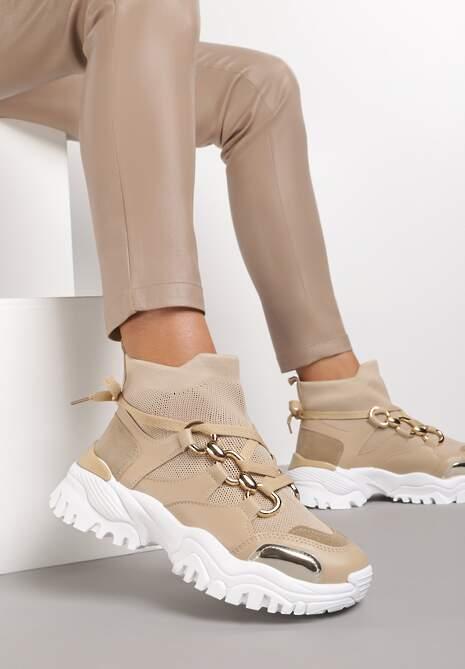 Ciemnobeżowe Sneakersy Gwenena
