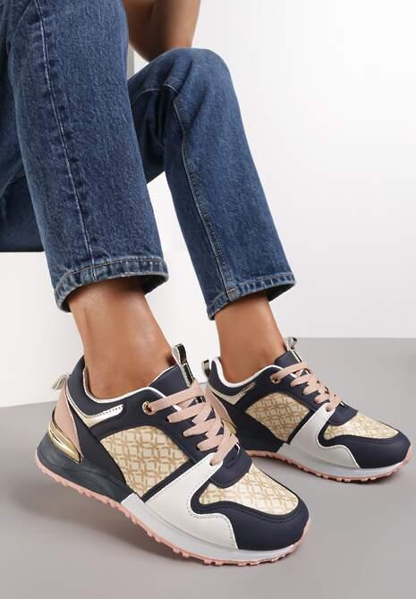 Granatowo-Różowe Sneakersy Hiamoscea