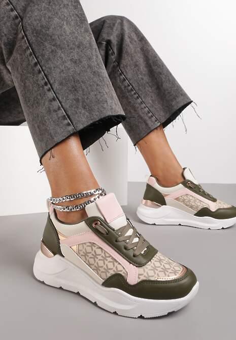 Oliwkowo-Beżowe Sneakersy Finaza