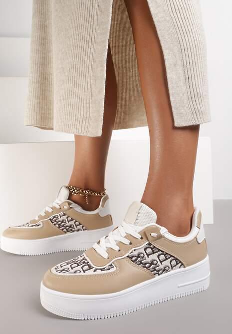 Ciemnobeżowe Sneakersy Chethive