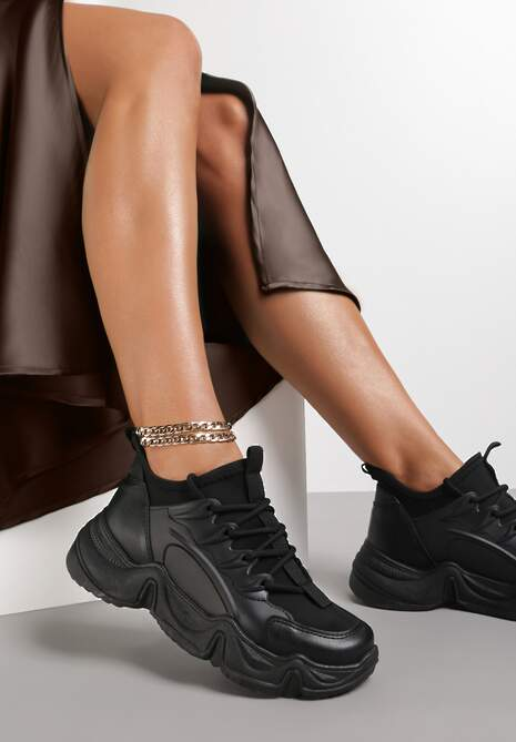 Czarne Sneakersy Emou