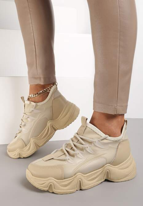 Ciemnobeżowe Sneakersy Emou
