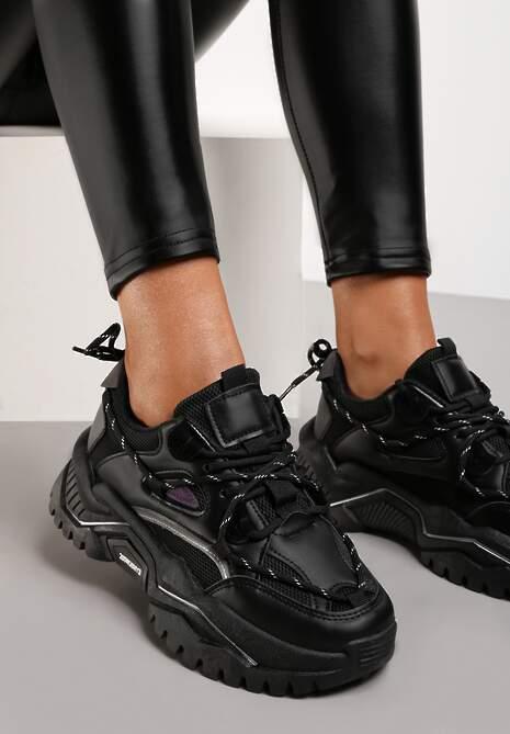 Czarne Sneakersy Olione