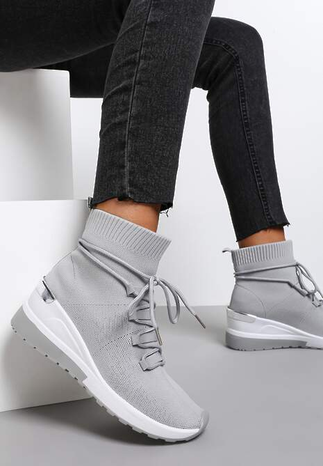 Szare Sneakersy Orany