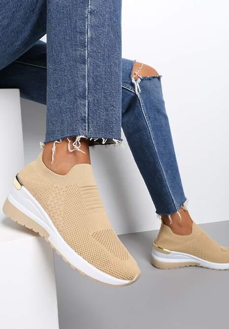 Beżowe Sneakersy Elmas