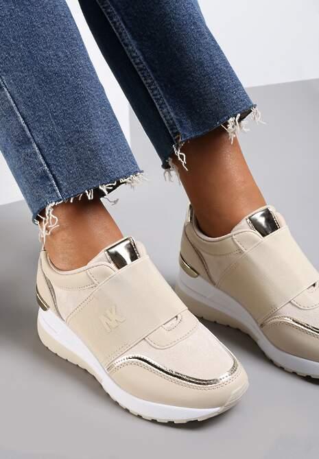 Beżowe Sneakersy Acape