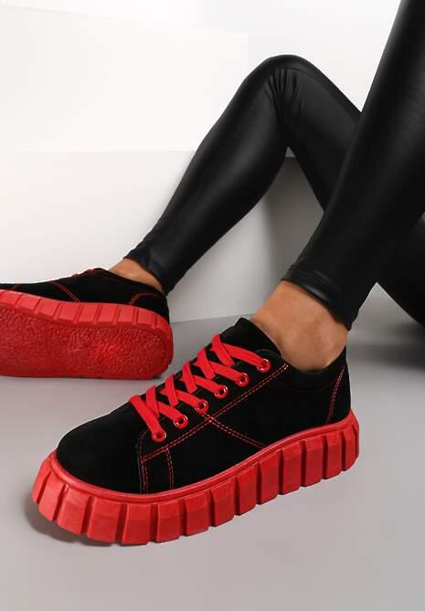 Czarno-Czerwone Sneakersy Azaro