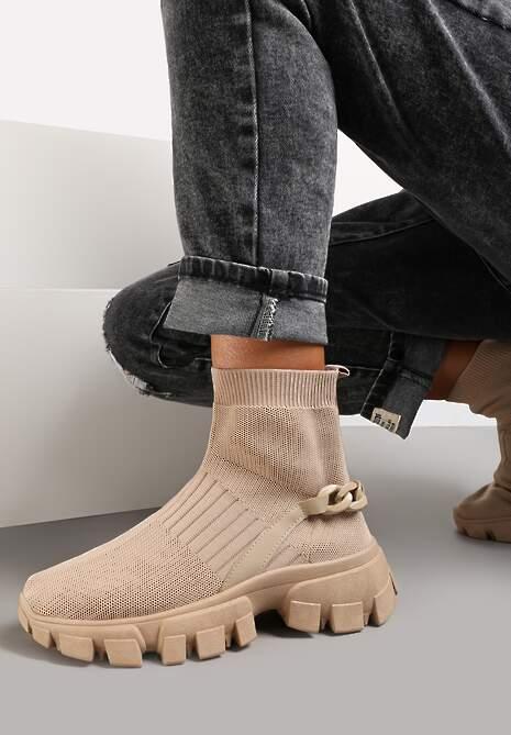 Ciemnobeżowe Sneakersy Astissa