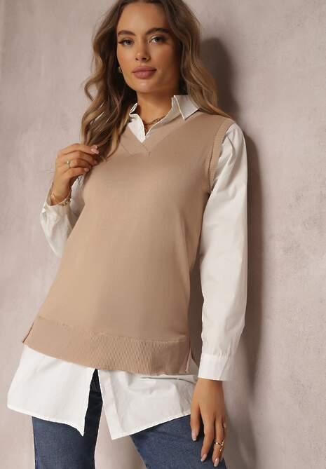 Biała Koszula Z Kamizelką Ishan