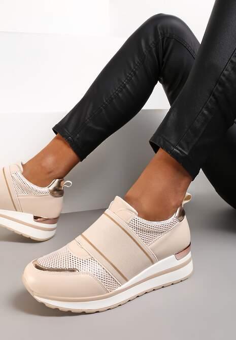 Beżowe Sneakersy Hesiopis