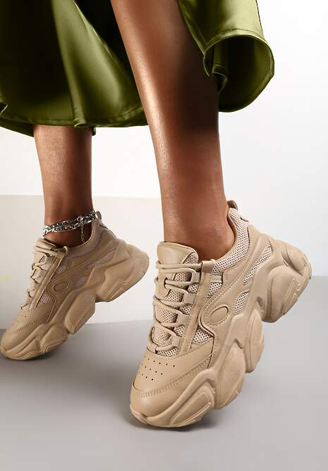 Ciemnobeżowe Sneakersy Thelamia