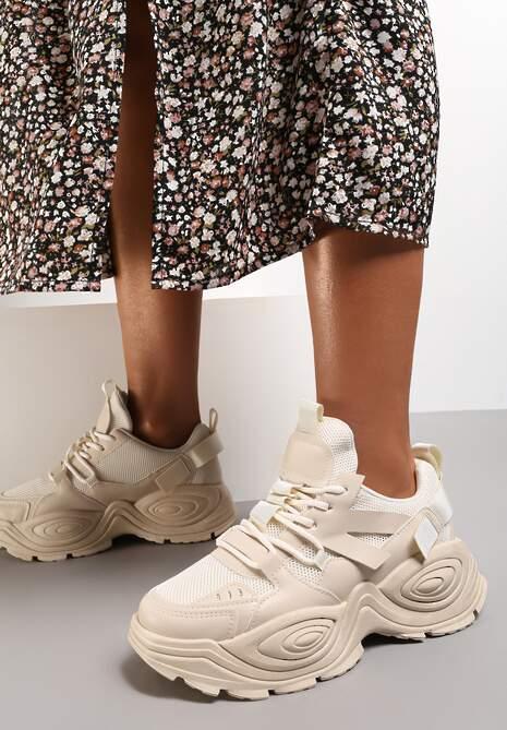 Beżowe Sneakersy Talilura