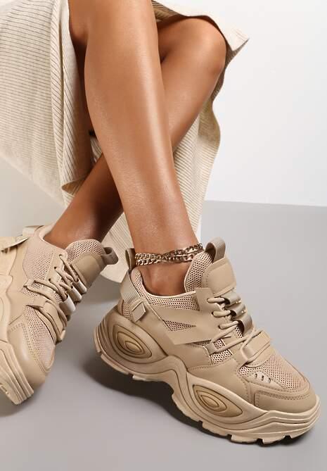 Ciemnobeżowe Sneakersy Talilura