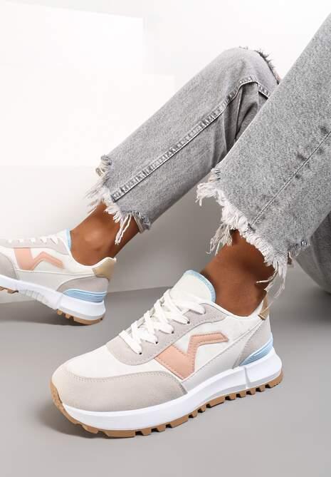 Biało-Szare Buty Sportowe Savaronis