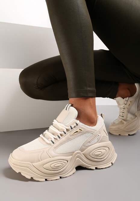 Beżowe Sneakersy Zelithera