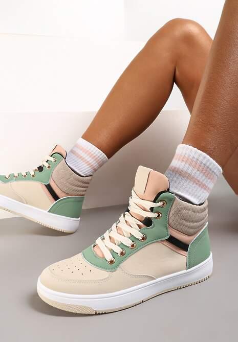 Beżowo-Zielone Sneakersy Egolis