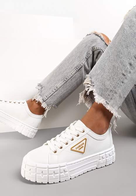 Biało-Złote Sneakersy Naufa