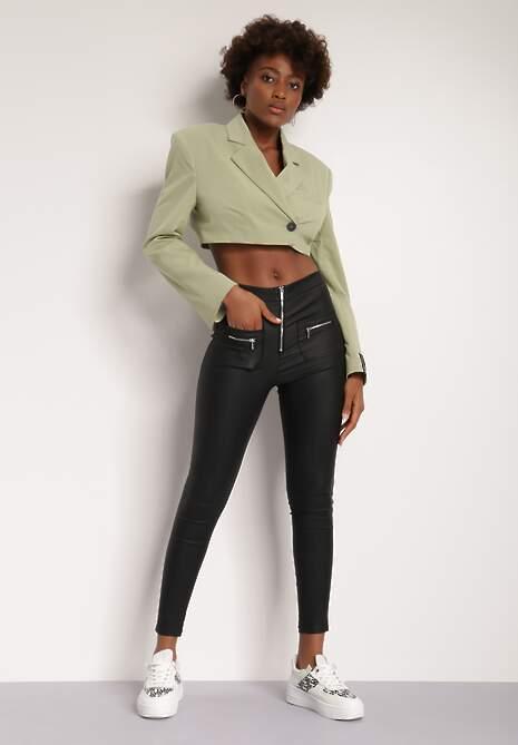 Czarne Spodnie Skinny Achite