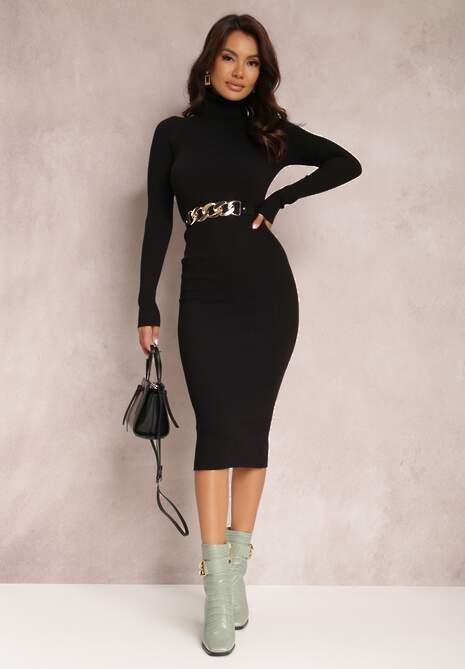 Czarna Sukienka Dzianinowa Ialynore