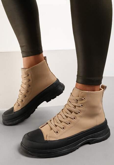 Ciemnobeżowe Sneakersy Callinca