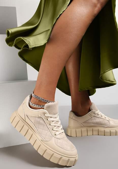 Beżowe Sneakersy Aerothee