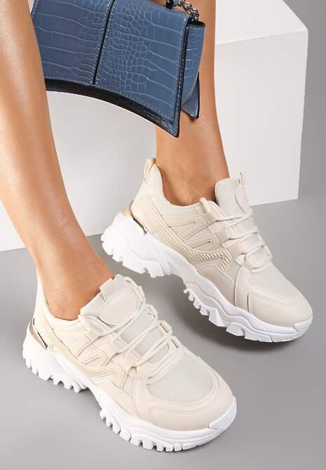 Beżowe Sneakersy Telephobe