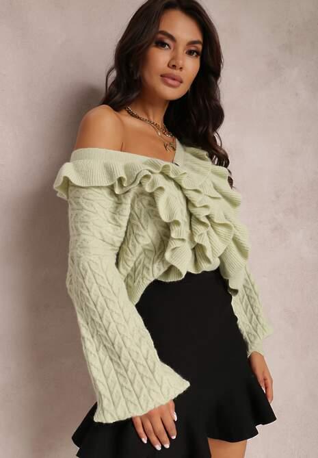 Miętowy Sweter Mideos