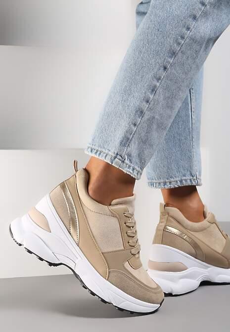 Beżowe Sneakersy Calaleia