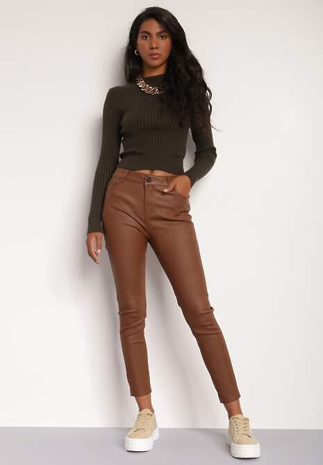 Brązowe Spodnie Skinny Khloraea