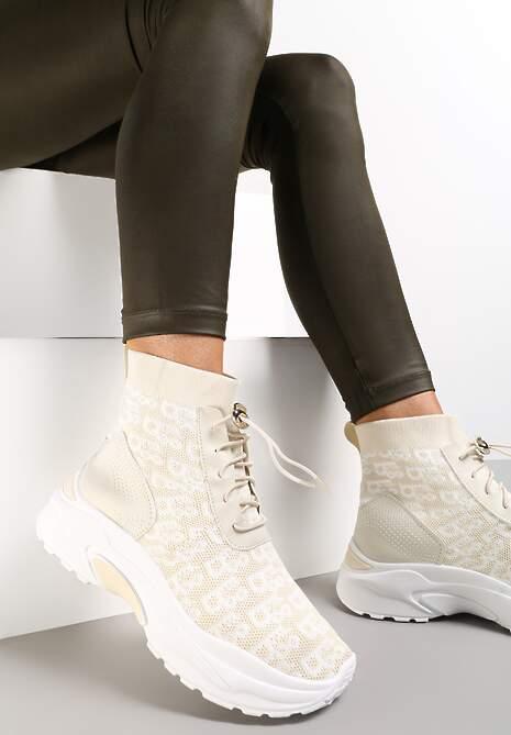 Jasnobeżowe Sneakersy Rhenaia