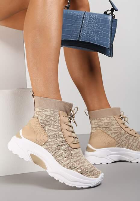 Beżowe Sneakersy Rhenaia