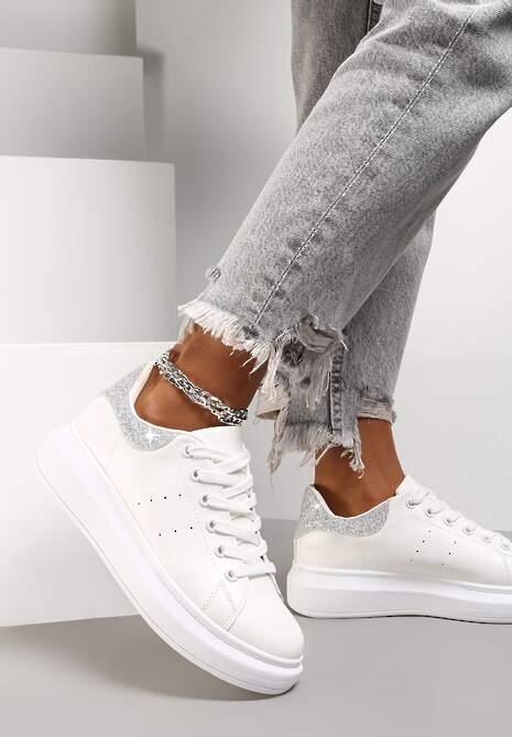 Biało-Srebrne Sneakersy Toranin