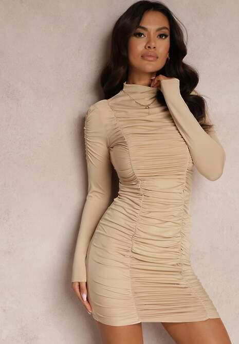 Beżowa Sukienka Delerine