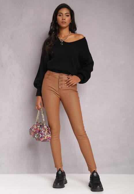 Brązowe Spodnie Skinny Evele