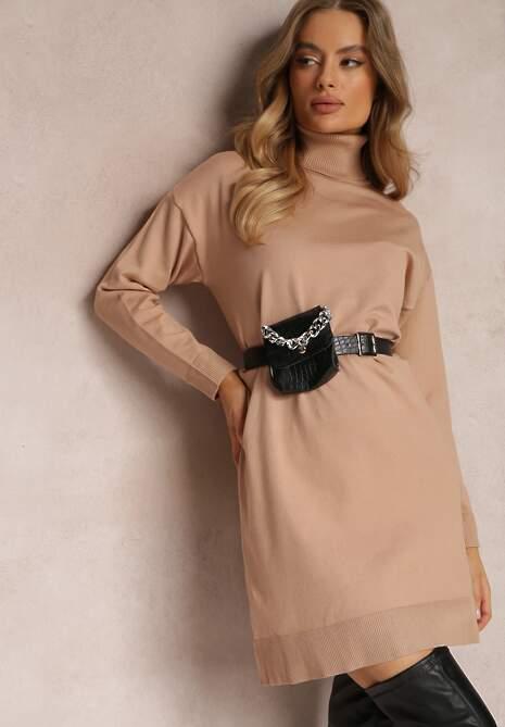 Ciemnobeżowa Sukienka Baseris