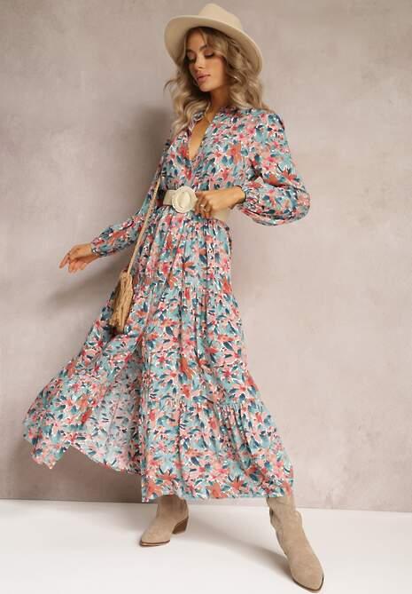 Niebiesko-Różowa Sukienka Phaelerine