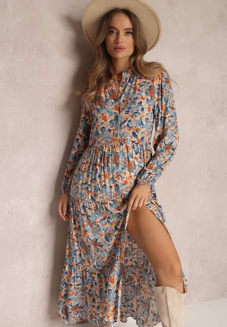 Niebiesko-Pomarańczowa Sukienka Phaelerine