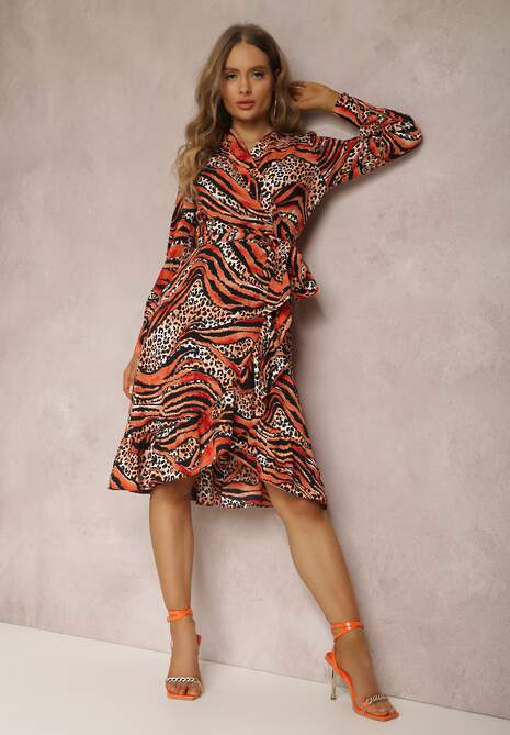 Czarno-Pomarańczowa Sukienka Achaera