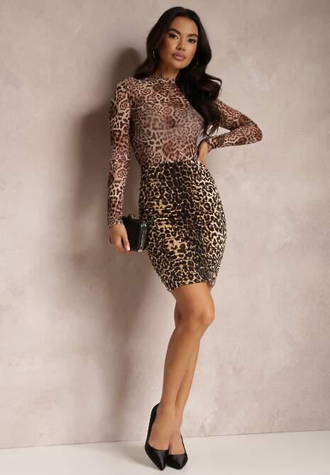 Czarno-Beżowa Spódnica Cilothee