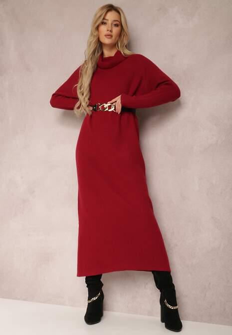 Bordowa Sukienka Timamia